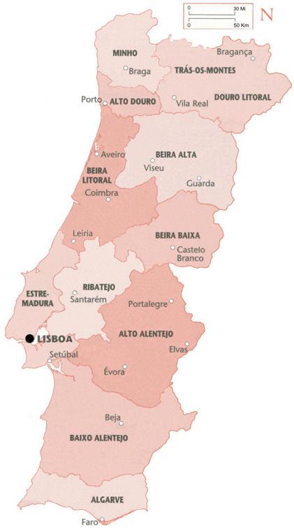 Cartina Politica Del Portogallo.Mappa Amministrativa Del Portogallo