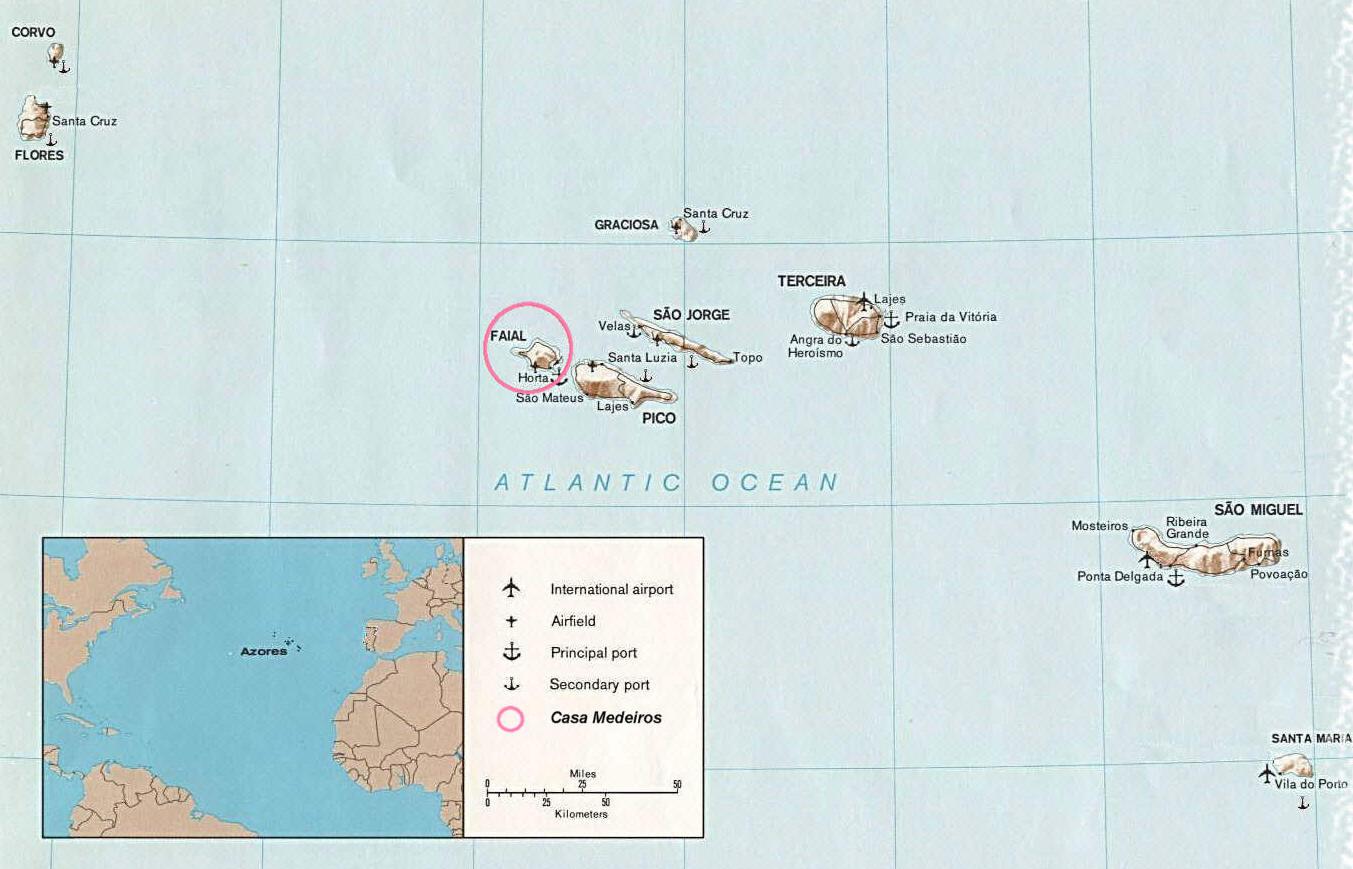Cartina Geografica Portogallo E Isole.Mappa Azzorre Cartina Delle Azzorre