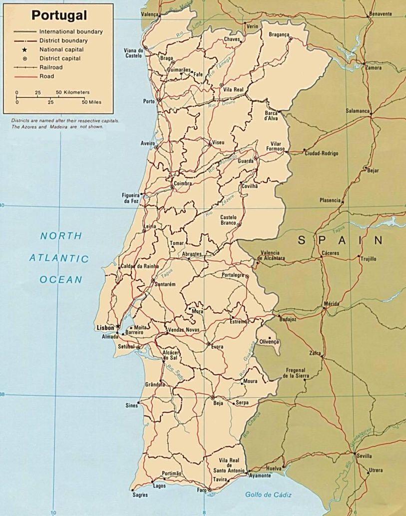 Portogallo Fisica Cartina.Mappa Portogallo Cartina Del Portogallo