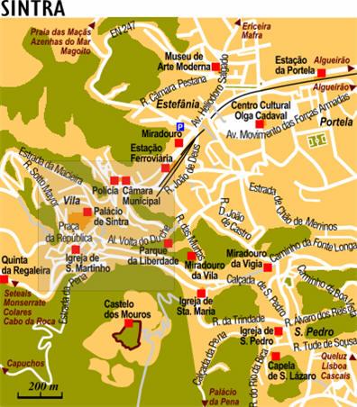 Cartina Di Portogallo.Mappa Sintra Cartina Di Sintra In Portogallo